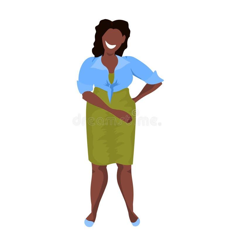 La situación obesa gorda de la mujer plantea el personaje de dibujos animados femenino de la muchacha del concepto casual gordo a libre illustration