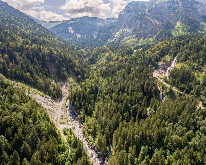 La Sixt-maintenance-Cheval alpine de région de forêt en France du sud-est image libre de droits