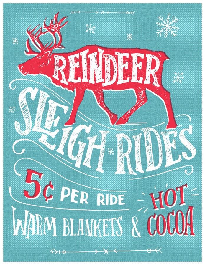 La slitta della renna guida il retro manifesto illustrazione di stock