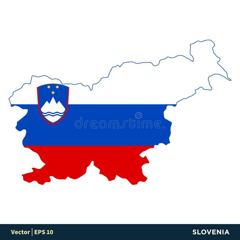 La Slovénie - les pays de l'Europe tracent et marquent la conception d'illustration de calibre d'icône de vecteur Vecteur ENV 10 illustration de vecteur