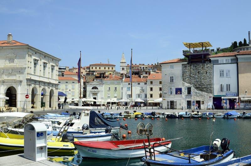 La Slovénie, Piran, port photos libres de droits
