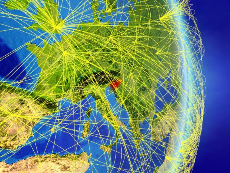 La Slovenia sul pianeta Terra del pianeta con la rete Concetto di connettività, del viaggio e della comunicazione illustrazione 3 illustrazione di stock