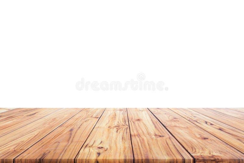 La sobremesa de madera en el fondo blanco para el fondo alista nos utilizó diseño de productos de la exhibición o del montaje fotos de archivo libres de regalías