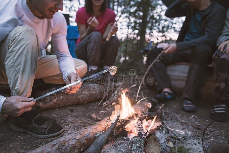 La société des amis heureux fait frire les guimauves délicieuses sur un feu, une soirée d'été dans la forêt photographie stock libre de droits