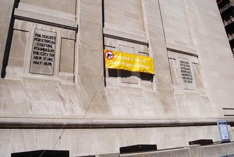 La société pour la culture morale, imaginent un futur pour exempt de la violence armée, NYC, NY, Etats-Unis image stock