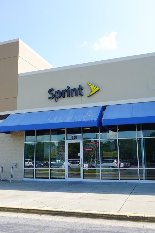La sociedad de Sprint es una compañía de telecomunicaciones americana imagen de archivo