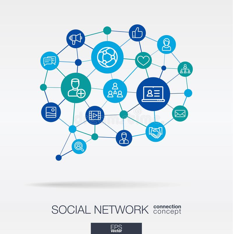 La sociedad integró la línea fina iconos en forma del mensaje de la burbuja del discurso Concepto de la red neuronal de Digitaces libre illustration