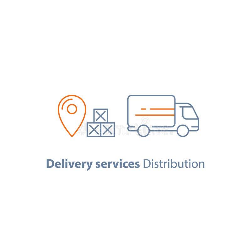 La società di logistica, il camion di consegna, il servizio di movimento, corriere, riceve la scatola del pacchetto, la linea ico illustrazione di stock