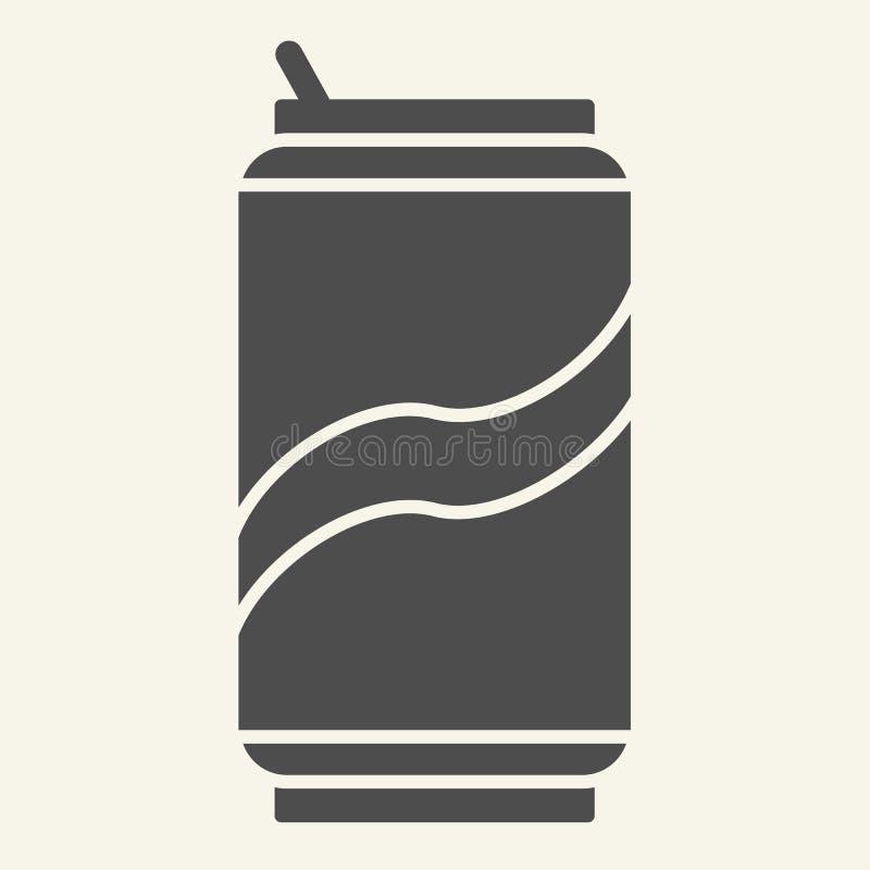 La soda puede icono sólido Bebida en el ejemplo de aluminio del vector de la lata aislado en blanco Diseño del estilo del glyph d ilustración del vector