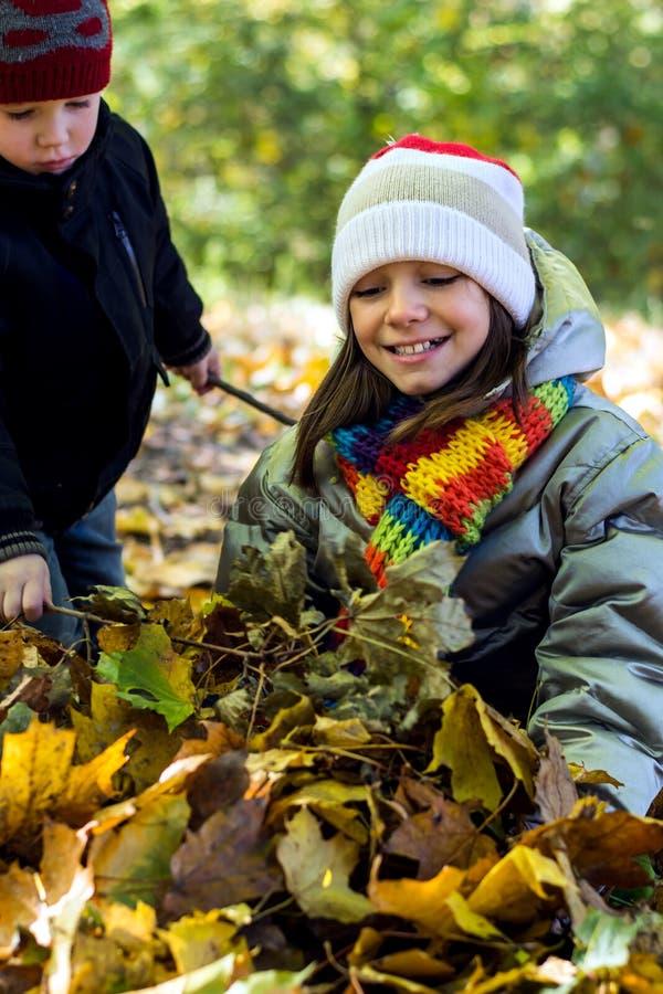 La soeur plus âgée recueille une pile des feuilles, et son jeune frère l'aide photos stock