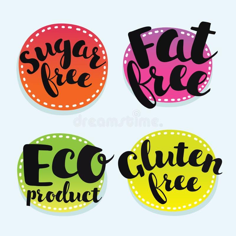 La soia, glutine, latteria, lo zucchero, gmo, grasso, uovo, dado, grano libera Insieme dei distintivi illustrazione vettoriale