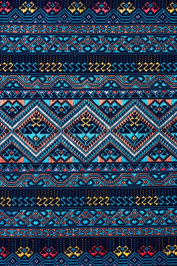 La soie thaïlandaise colorée handcraft la fin péruvienne de surface de couverture de style vers le haut de plus de ce motif et de photographie stock