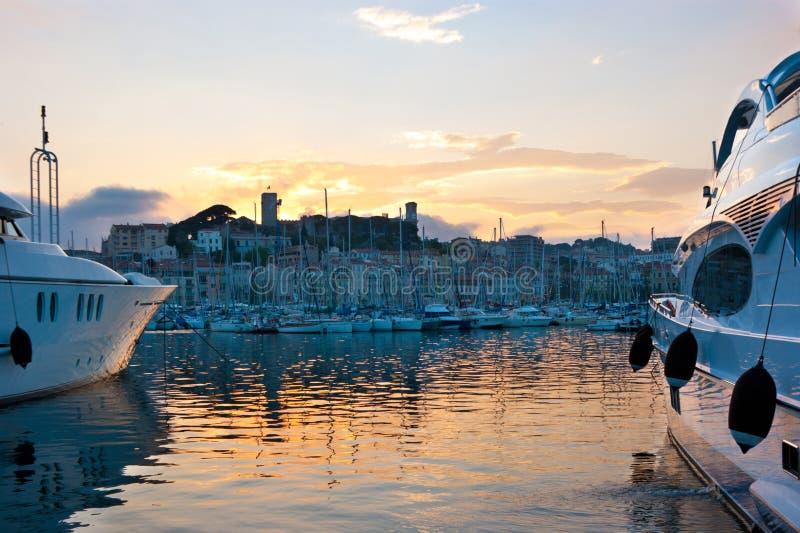 La Soirée à Cannes Images libres de droits
