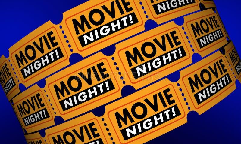 La soirée cinéma étiquette le film de théâtre de cinéma de Showtime illustration libre de droits