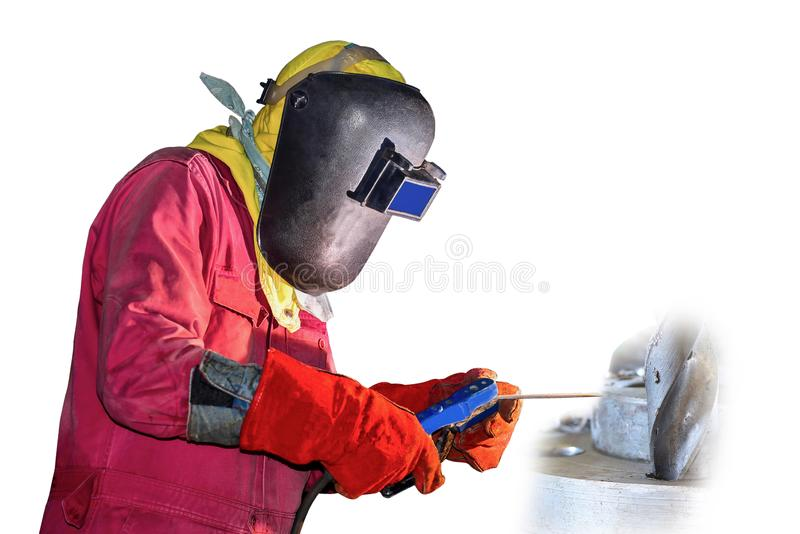 La soldadura del trabajador del hombre era máscara protectora del equipo y guante de cuero imagen de archivo