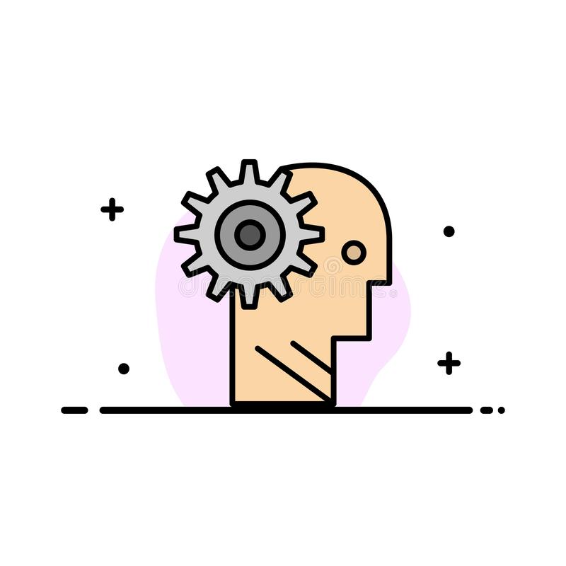 La solución, cerebro, engranaje, hombre, mecanismo, línea plana personal, de trabajo del negocio llenó la plantilla de la bandera libre illustration