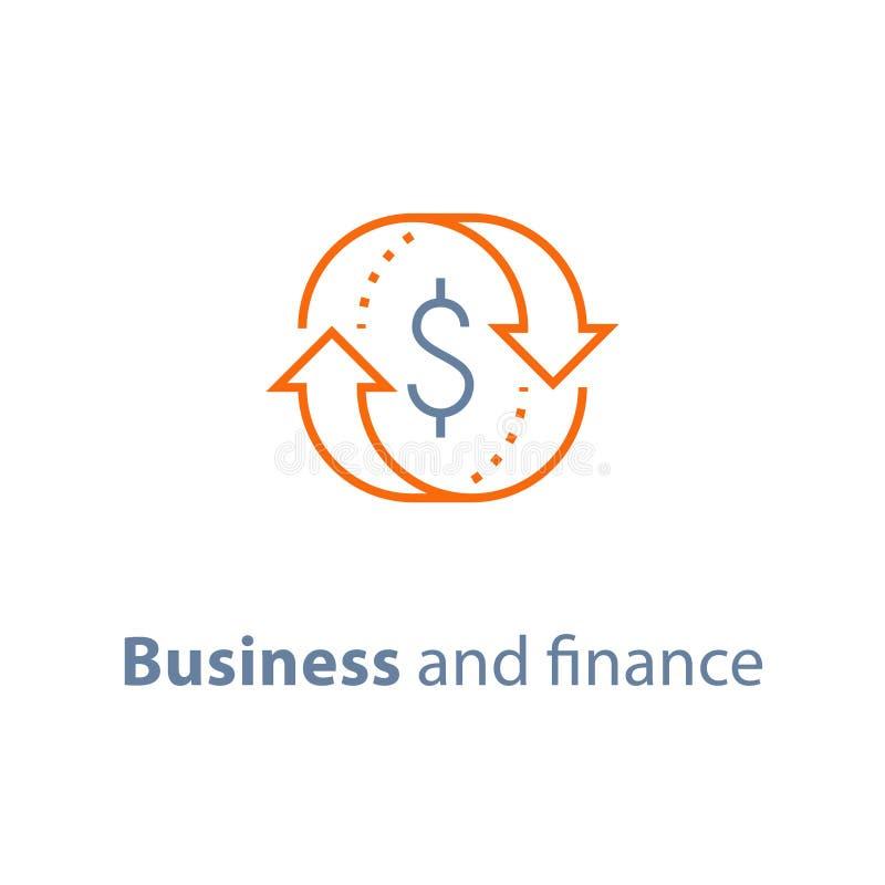 La solución del negocio, servicio de seguro de las finanzas, intercambio de moneda, préstamo de hipoteca financia de nuevo, gesti stock de ilustración