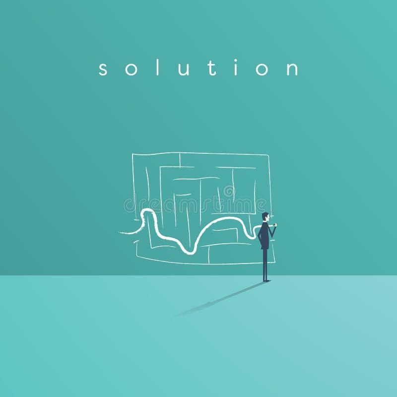 La solución del negocio y el concepto del éxito vector símbolo con la línea del dibujo del hombre de negocios a través del laberi ilustración del vector
