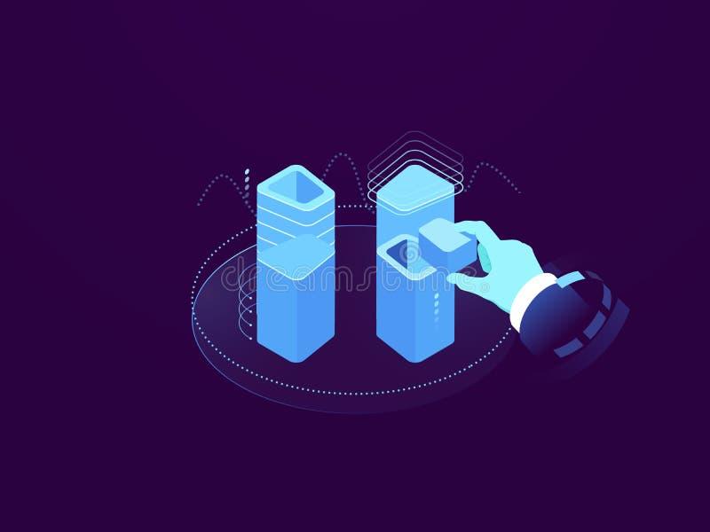 La solución del servidor de la nube, concepto de la tecnología digital, puso la información en la base de datos, la grabación y l ilustración del vector
