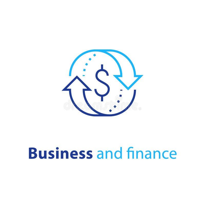 La solution d'affaires, service d'assurance de finances, change, prêt hypothécaire refinancent, gestion de fonds, retour sur l'in illustration de vecteur