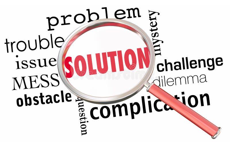 La solution résolvent la résolution de question de problème magnifiant Glas illustration libre de droits