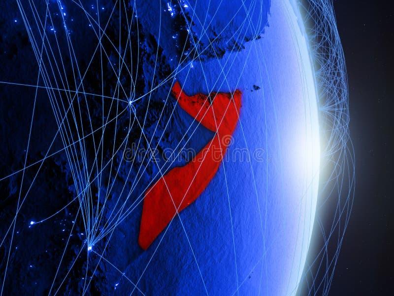 La Somalie sur la terre numérique bleue bleue images libres de droits