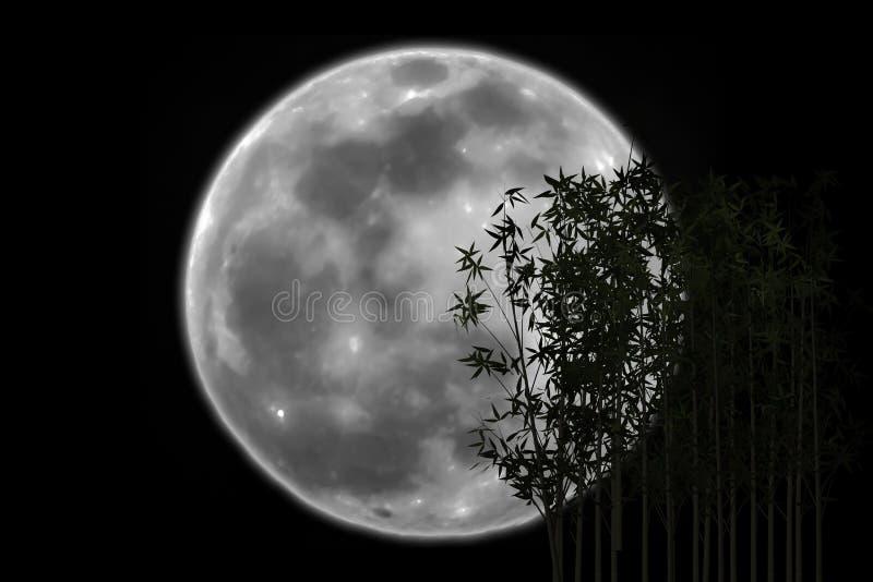 La sombra de bambú de la silueta eclipsó la luna imagen de archivo