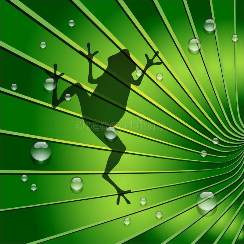 La sombra de la rana está en Tone Leaf verde ilustración del vector