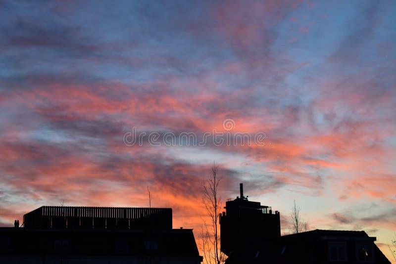 La sombra de la naranja roja púrpura de la puesta del sol hermosa de las casas se nubla el cielo azul Alkmaar fotografía de archivo