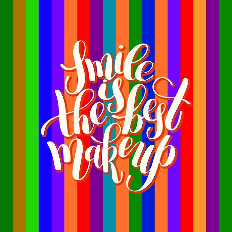 La sonrisa es el cepillo manuscrito del mejor maquillaje que pone letras al qu positivo stock de ilustración