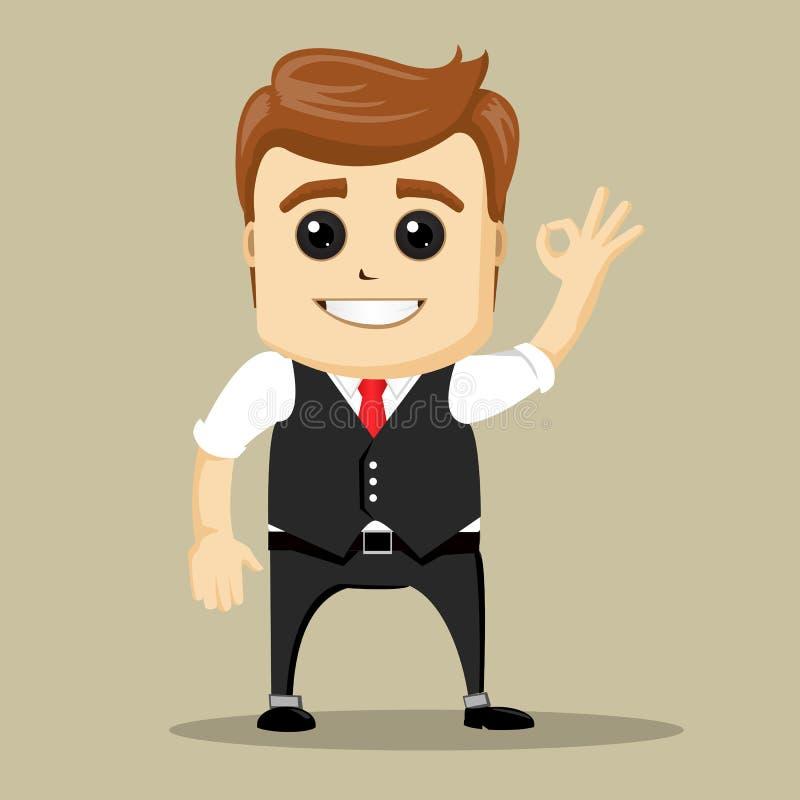 La sonrisa y las demostraciones del hombre de negocios del vector APRUEBAN la muestra de la mano stock de ilustración