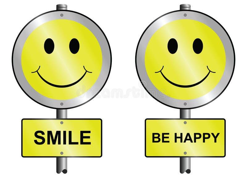 La sonrisa y sea feliz stock de ilustración