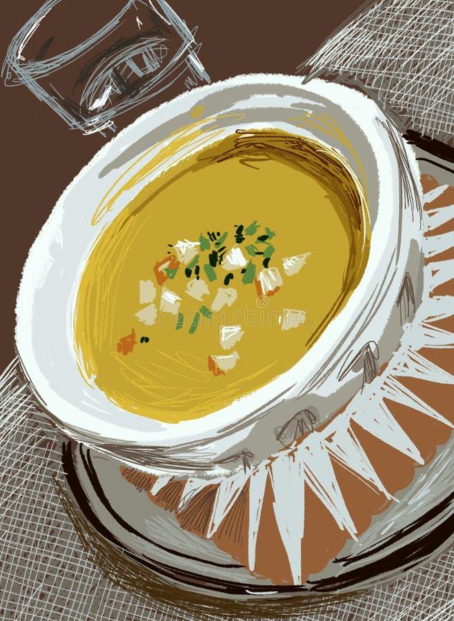 La sopa está en la tabla imagenes de archivo