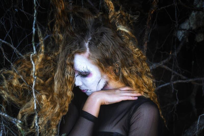 La sorcière dans la forêt foncée image stock