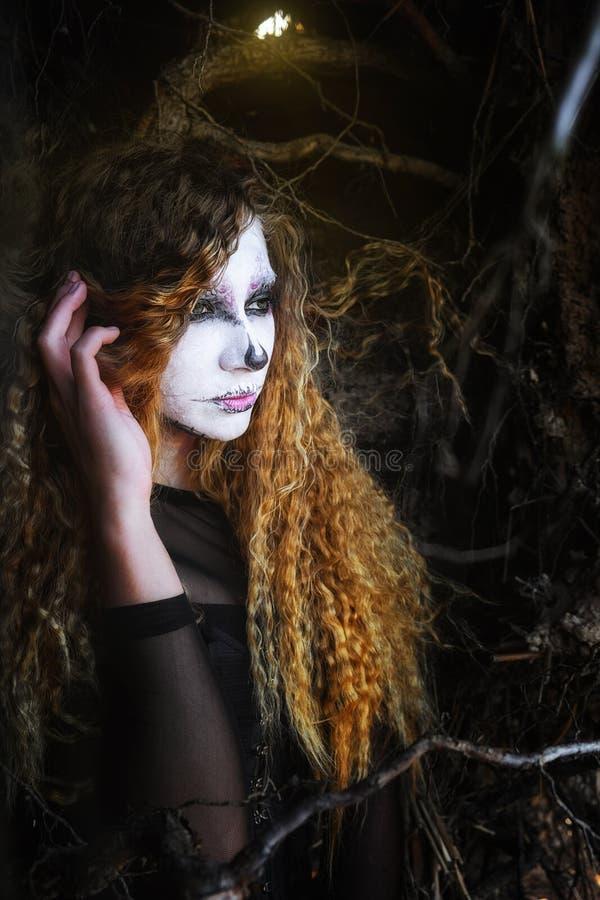 La sorcière dans la forêt foncée Halloween image libre de droits