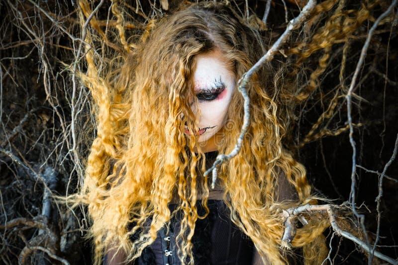 La sorcière dans la forêt foncée Halloween photographie stock libre de droits