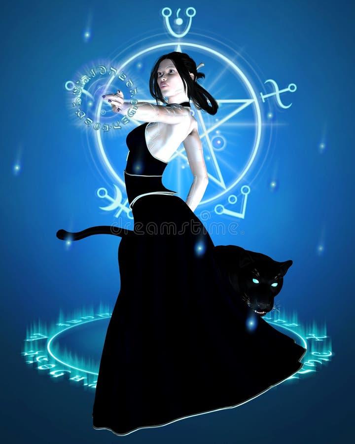 La sorcière et la panthère noire - jeter un sort illustration de vecteur