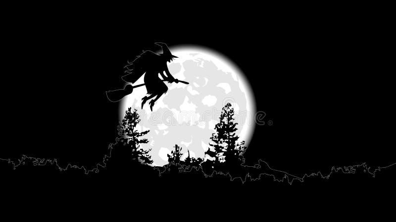 La sorcière sur un manche à balai vole contre une pleine lune illustration de vecteur