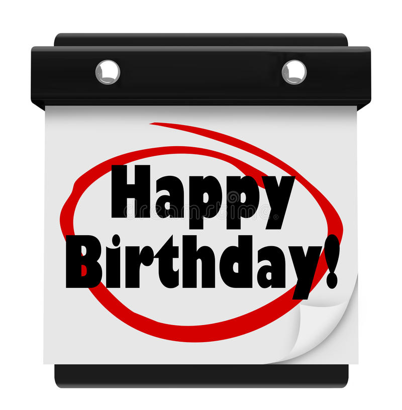 La sorpresa del calendario de pared de las palabras del feliz cumpleaños celebra ilustración del vector
