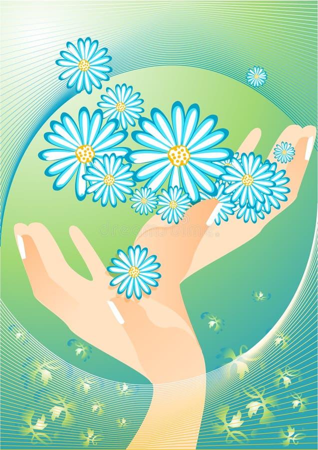 La source est dans le ciel. Mains avec des fleurs. illustration libre de droits