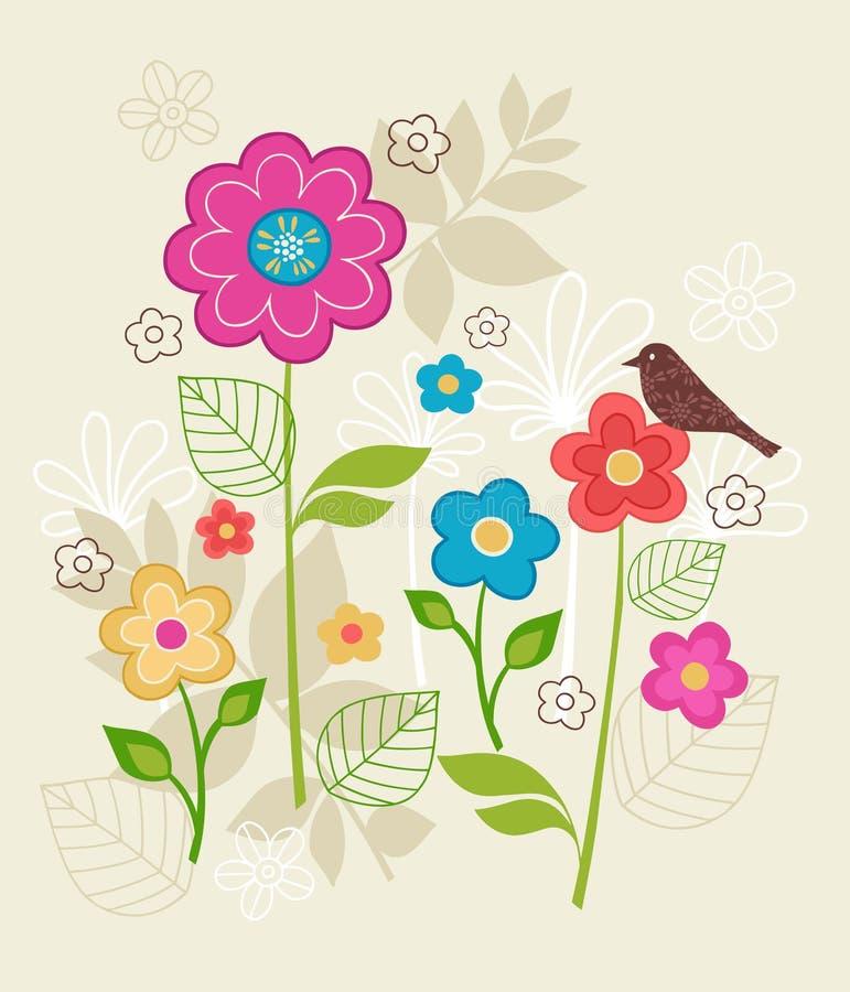 La source s'envole des fleurs et le vecteur d'oiseau illustration stock