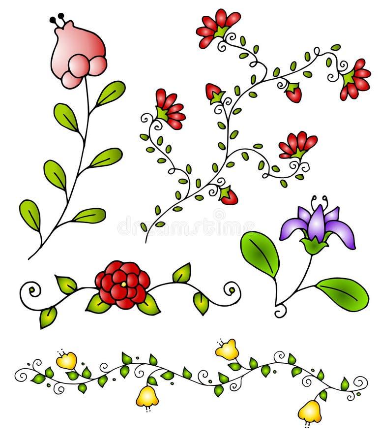 La source tirée par la main fleurit le vecteur 3 illustration stock
