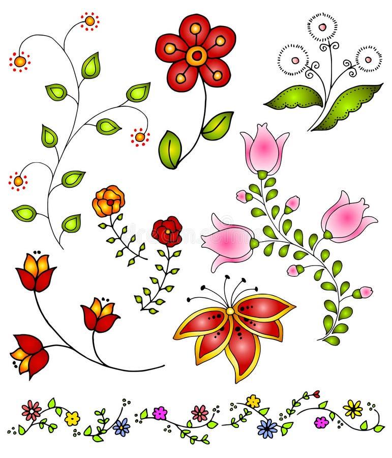 La source tirée par la main fleurit le vecteur 4 illustration stock