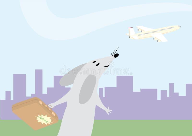 La souris avec la valise va sur le congé illustration libre de droits