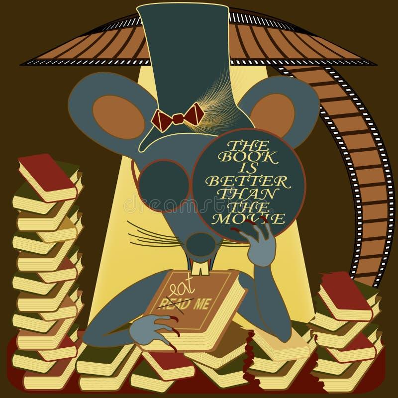 La souris borgne avec le livre est meilleure que le film illustration libre de droits