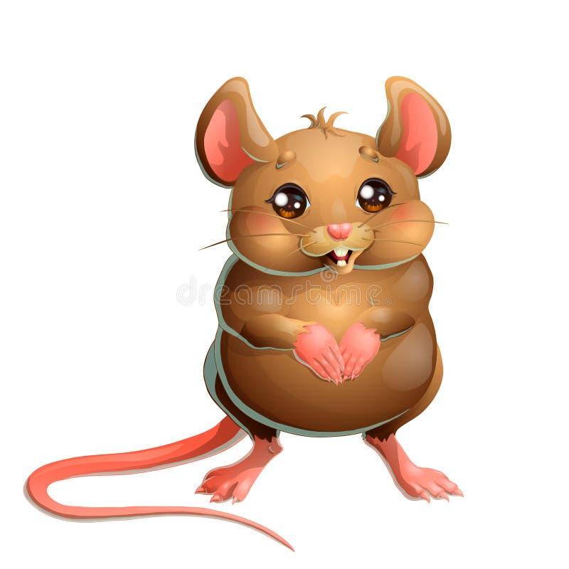 La souris brune mignonne sur le fond blanc photos stock