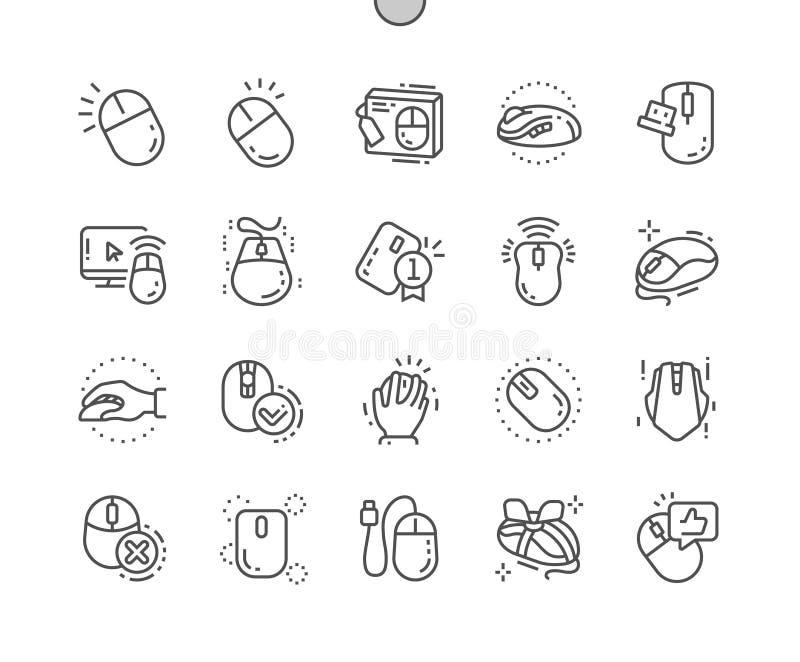 La souris d'ordinateur Bien-a ouvré la ligne mince de vecteur parfait de pixel la grille 2x des icônes 30 pour des graphiques et  illustration libre de droits