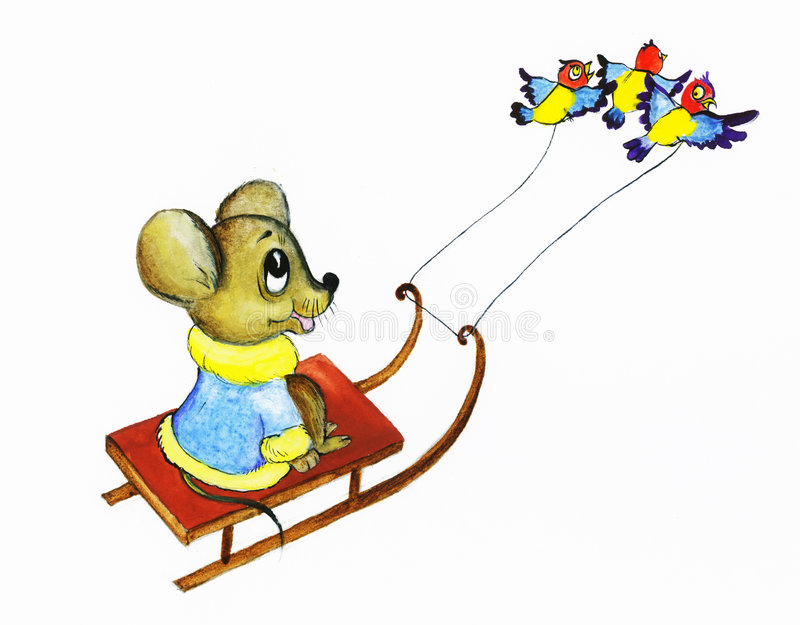 La souris de birdies conduit des étriers illustration stock