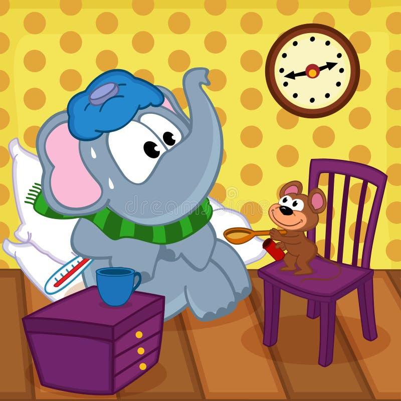 La souris guérit l'éléphant malade illustration stock