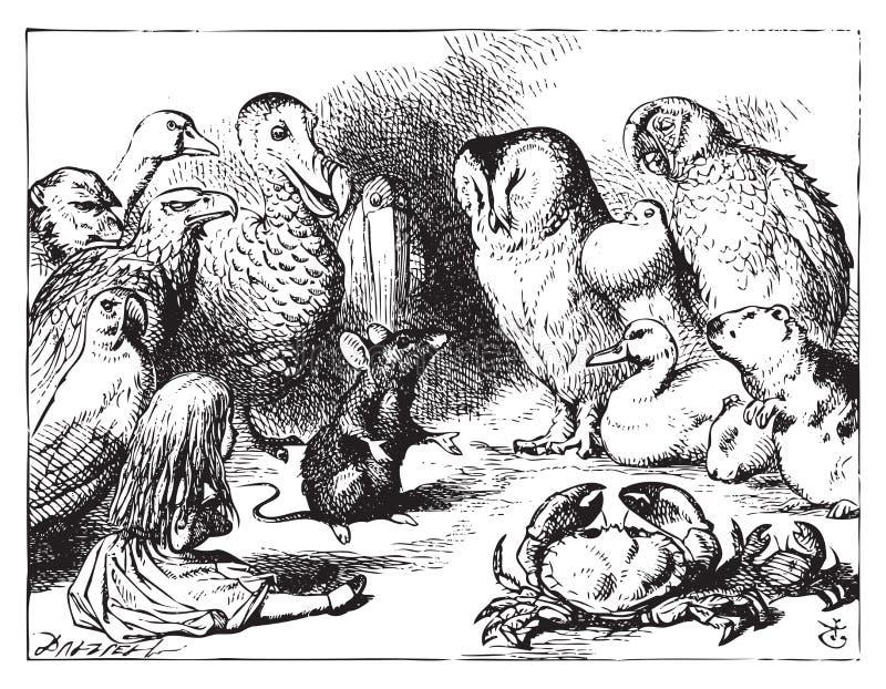 La souris raconte une histoire à Alice illustration libre de droits